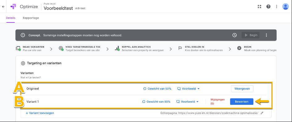 Google Optimize overzicht testen