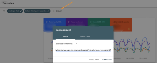 Pagina selecteren in Google Search Console