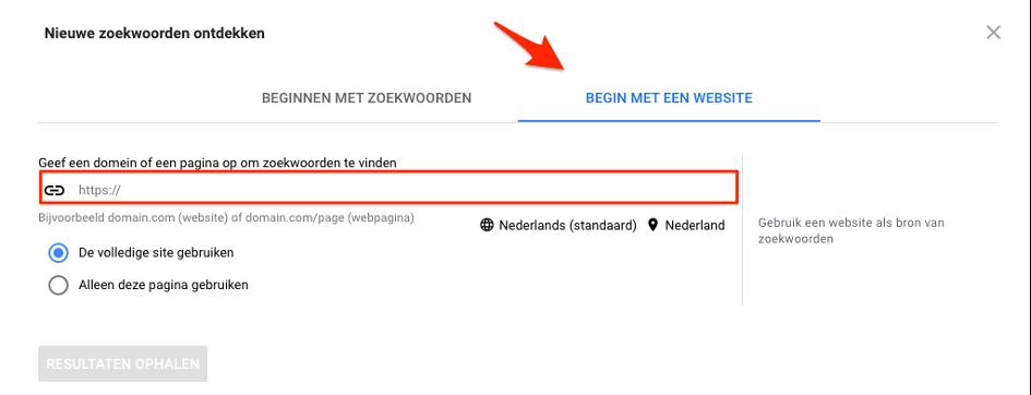 zoekwoordplanner google