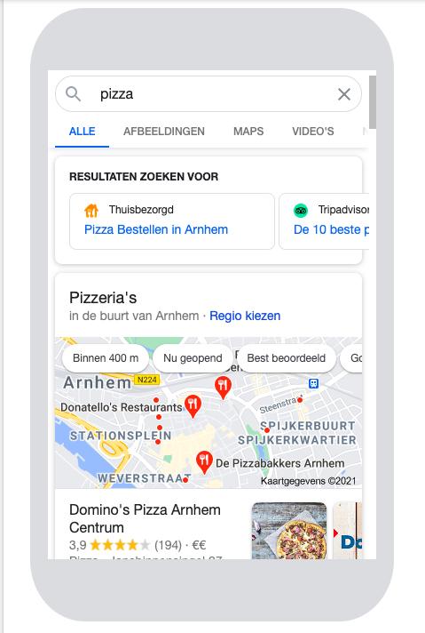 lokale seo pizza mobiel
