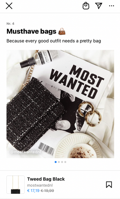Voorbeeld producten Instagram Guide