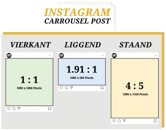 Instagram carrousel post formaten en afmetingen