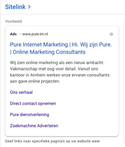Ads account activeren - sitelink extensie