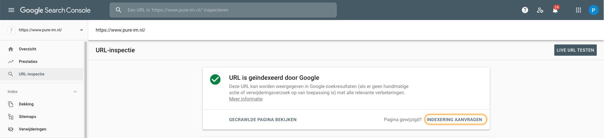 Google Search Console Indexering aanvragen