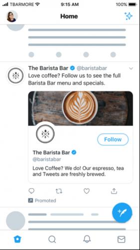 Twitter follower advertenties ads voorbeeld