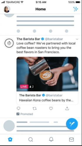 Twitter Live advertentie ads voorbeeld