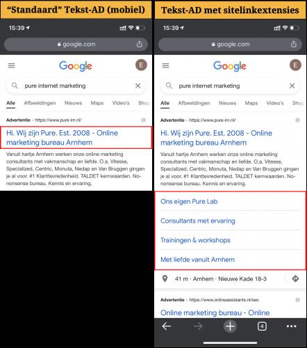 Sitelink-extensies-Google-Ads-voorbeeld-mobiel